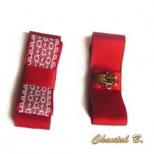 clips chaussures mariage noeud satin rouge vif et dentelle blanche