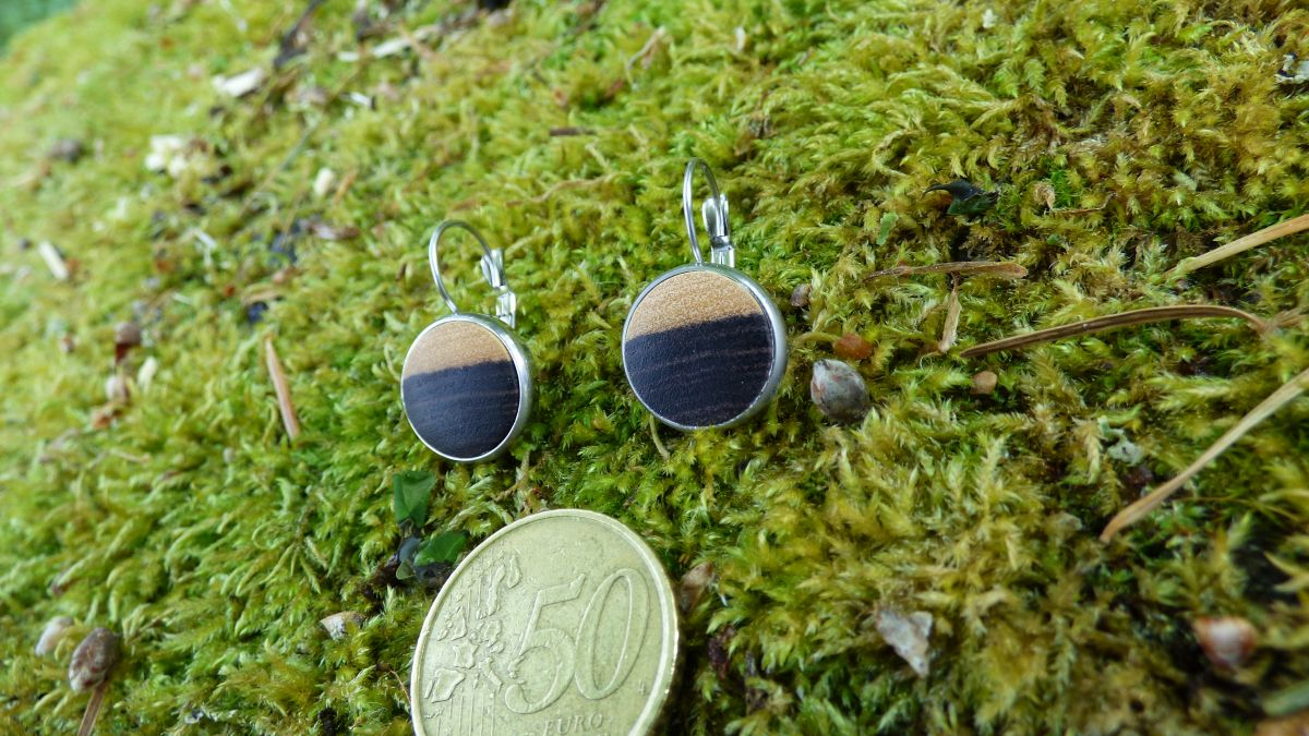 Boucles d'oreilles rondes avec bois précieux