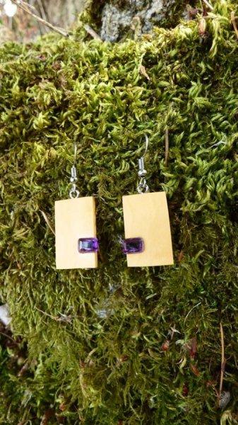 Boucles d'oreilles avec améthystes violettes