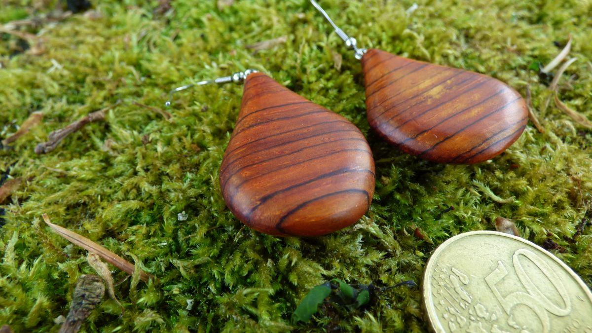 Boucles d'oreilles en bois précieux