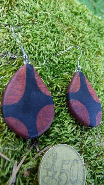 Boucles d'oreilles avec 2 essences de bois précieux
