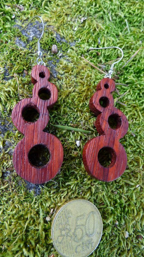 Boucles d'oreilles en Padouk