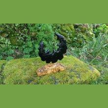 """""""Black moon"""" sculpture en mélèze avec son socle en loupe de peuplier"""