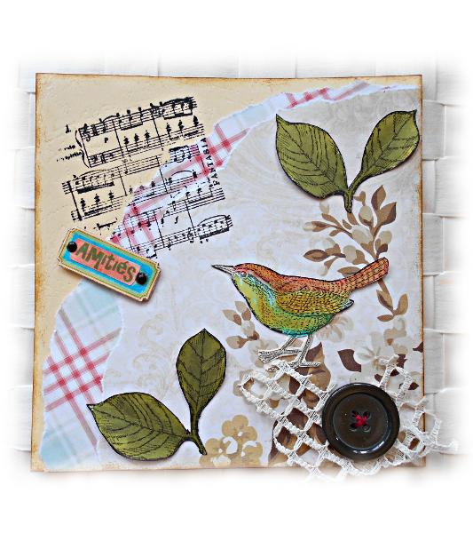Carte d'amitié faune et flore oiseau et feuillage en relief dans son nid de tissu et de bouton