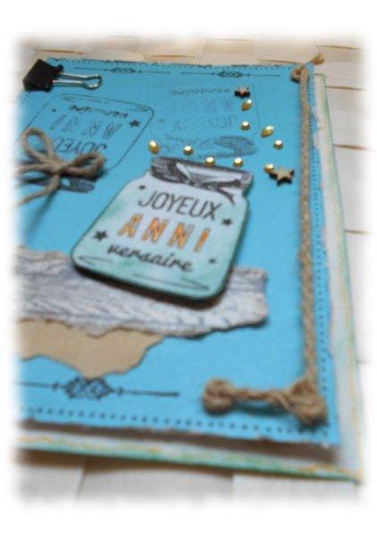 Carte scrap Joyeux Anniversaire sablier strass turquoise effet bois et corde
