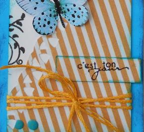 """Carterie tag festonnée rétro bleu orange jaune """"C'est ton jour"""" pour anniversaire, fête, amitié, Love,"""