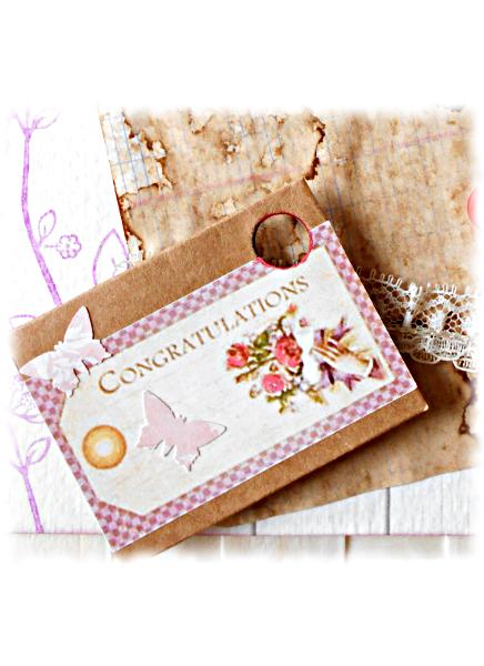 Félicitations rétro ou vintage congratulations d'examen, de diplôme, ... carte en papier vieilli rose