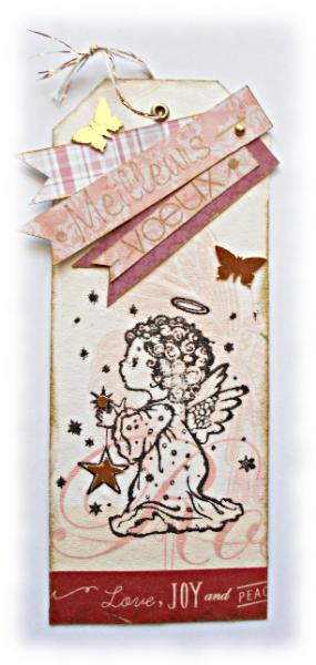"""Meilleurs voeux avec ce marque-pages """"Ange aux étoiles"""" de fêtes de fin d'année, un signet ou une carte originale et brillante"""