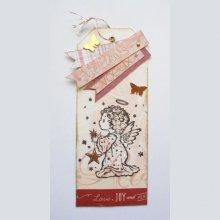 """Meilleurs voeux offerts avec ce marque-pages """"Ange aux étoiles"""" de fêtes de fin d'année, un signet ou une carte originale et brillante"""