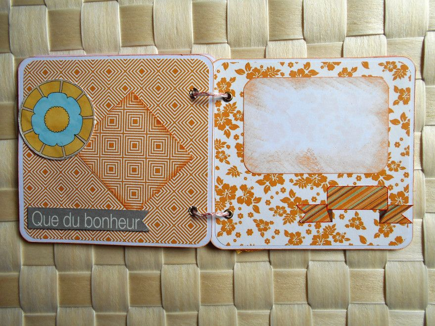 "Mini album photos à compléter ""Moments Magiques"" tons rose/orange"