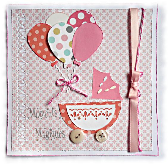 """Naissance de petite fille, cette carte """"moments magiques"""" coloris rose, blanc et gris souhaite la bienvenue, félicitations naissance"""