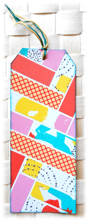Signet, marque-page, onglet, en récup de carton et couleurs rose orange turquoise flashy multicolore
