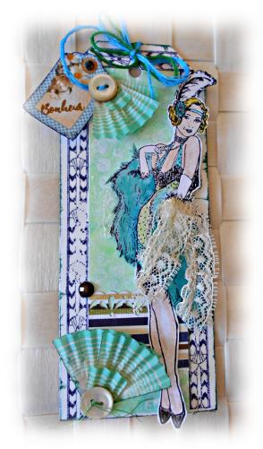 """Tag ou petite carte à offrir """"Lady sensuelle des années 1920, Bonheur"""" en papier mixed media dentelle et fil"""