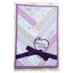 """Carte de bonheur à partager au graphisme """"chevrons"""" aux couleurs mauve et violet"""