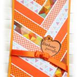 """Carte instant """"bonheur à partager"""" type chevrons aux couleurs """"Orangeade"""" pour égayer la vie de couleurs"""