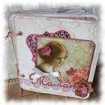 """Mini album, grimoire Rétro """"Maman"""" aux fleurs romantiques shabby rose et beige"""
