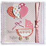 """Une naissance de petite fille, cette carte """"moments magiques"""" coloris rose, blanc et gris souhaitera la bienvenue, à offrir pour féliciter les parents"""