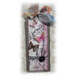 Remerciement toutes occasions carte tag shabby rétro tons gris rose lien tissu
