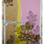 Carte de Joyeux Anniversaire au féminin combo fleurie jaune marron rose