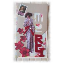 """Remerciements carterie Charmante lady """"rétro"""" 1930  avec ses fleurs rouges et sequins, sentiment en feutrine"""