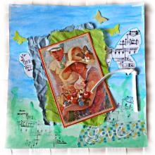 """Du scrap pour un romantique """"Love"""" sur aquarelle et papiers assortis frippés bleu et vert"""
