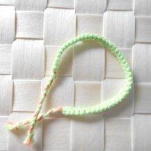 Bracelet tour de poignet en macramé coton vert pistache mandarine