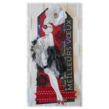 Carte nouvel an meilleurs voeux rétro façon année 1920 en papier recyclé épais noir et rouge
