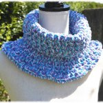 snood turquoise lilas blanc