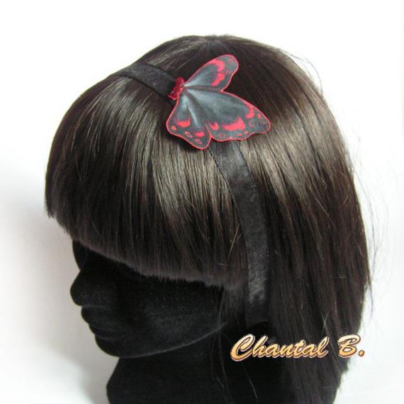 Bandeau de cheveux papillon des soie noir et rouge Alix