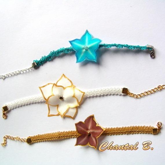 Bracelet turquoise dentelle guipure et sa fleur soie turquoise peinte