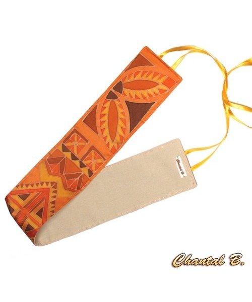 Ceinture large soie sauvage Sienna ethnique geometrique orangee doublure coton à nouer