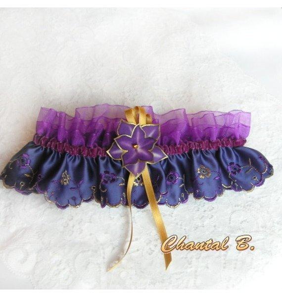 Jarretière maiage satin de soie violet et organza