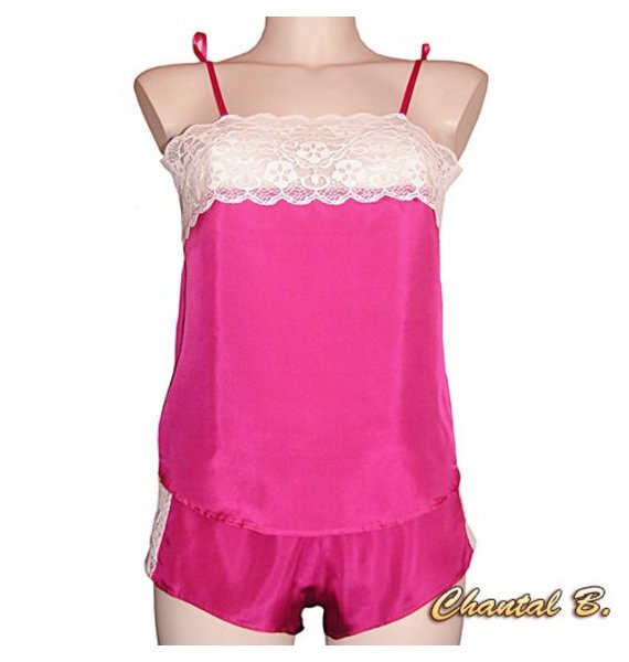 Nuisette lingerie caraco + boxer en soie fuchsia