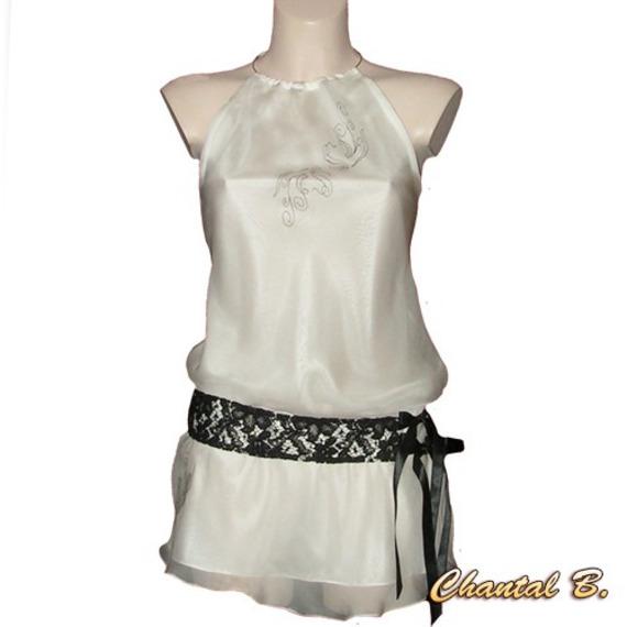Top chemisier blanc avec ceinture dentelle noire peint à la main