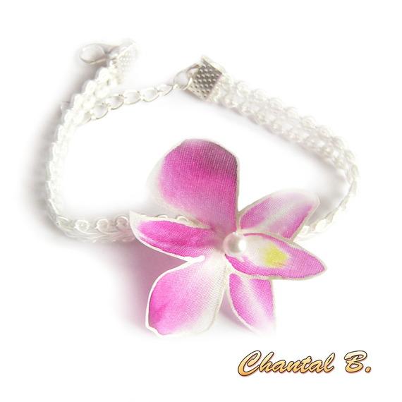 accessoire collier mariage cérémonie tour de cou orchidée soie rose peinte sur ruban organza