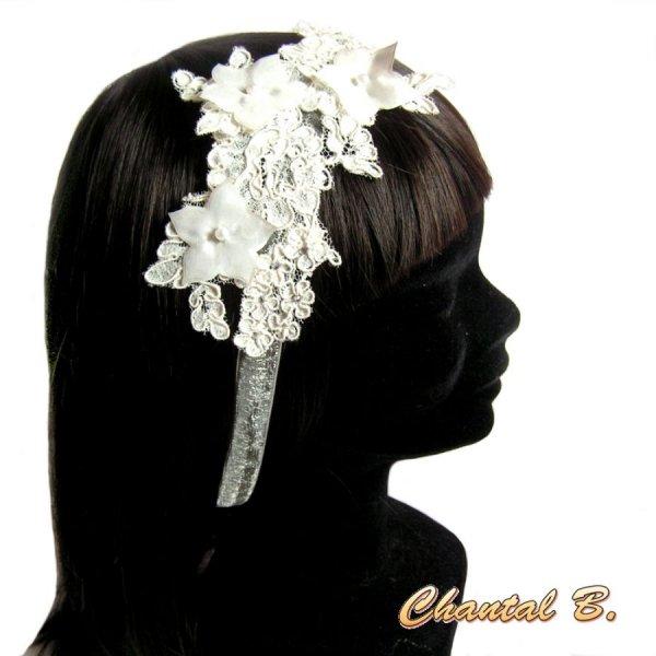 bandeau cheveux dentelle Calais ivoire accessoire mariage headband  fleur de soie strass