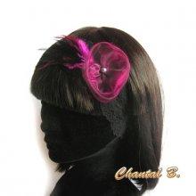 bandeau cheveux dentelle noire fleur d'organza et plumes fushia headband mariage fait main