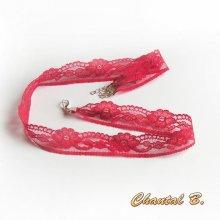 bandeau cheveux rouge en fine dentelle rouge FRAMBOISE headband