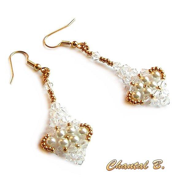 boucles d'oreilles cristal swarovski perles nacrées et or soirée mariage