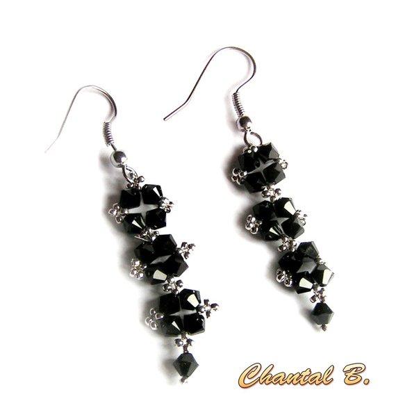 boucles d'oreilles cristal swarovski noir et argent soirée mariage