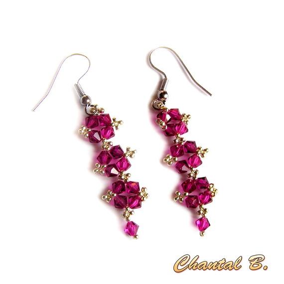 boucles d'oreilles cristal swarovski rose fuchsia et argent soirée mariage