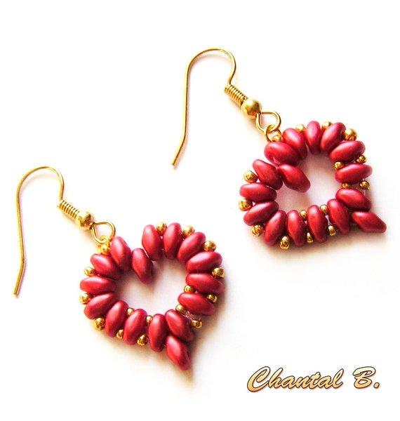 boucles d'oreilles coeur perles rouge corail et or soirée mariage cérémonie plaqué or