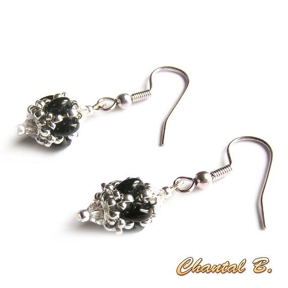 boucles d'oreilles mariage perles swarovski cristal perles de verre blanc nacré et argent