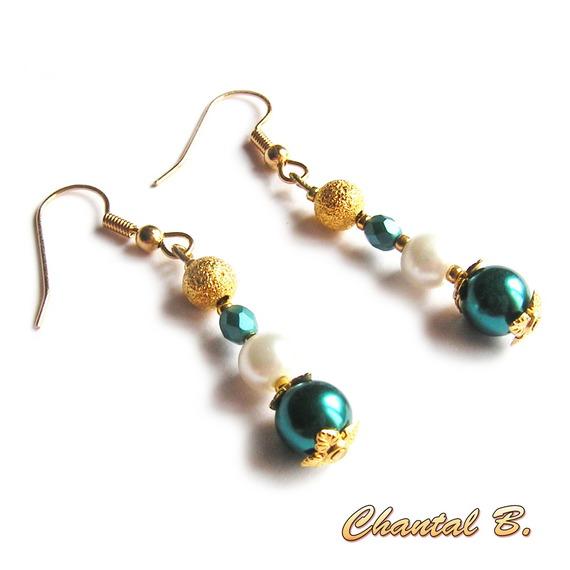 boucles d'oreilles perle émeraude ivoire et dorée soirée mariage plaqué or
