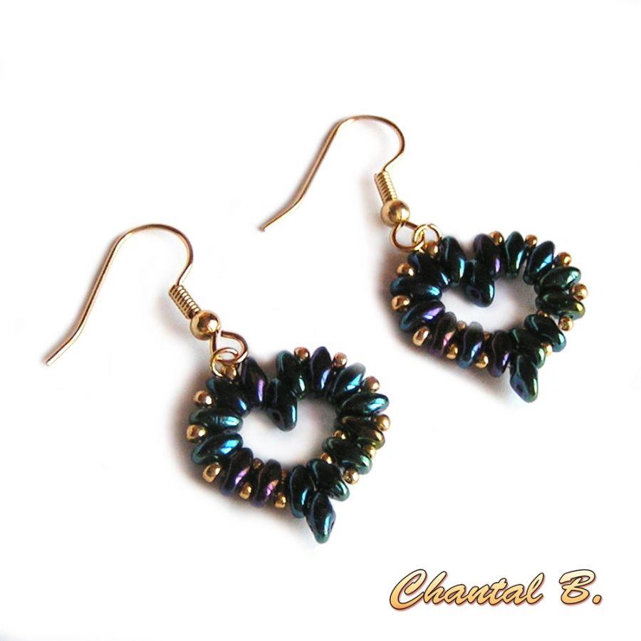 boucles d'oreilles Saint Valentin coeur perles bleu nuit et or soirée mariage
