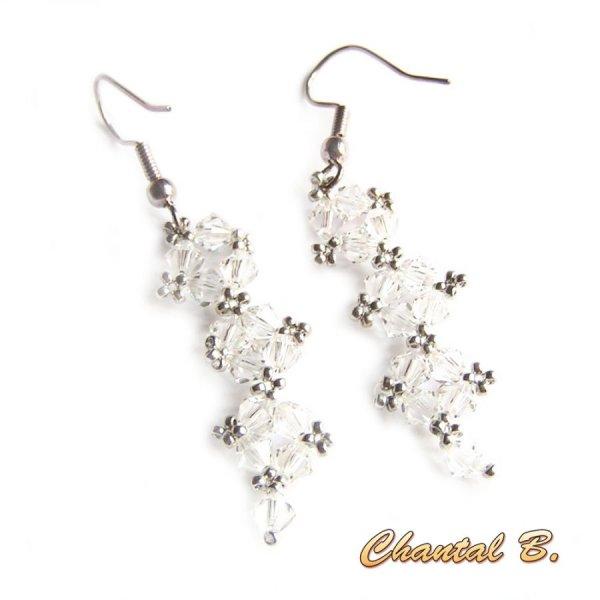 boucles d'oreilles cristal swarovski cristal transparent et argent soirée mariage