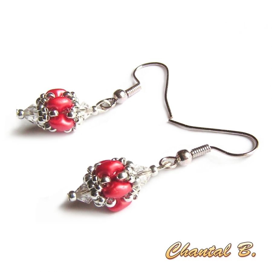 boucles d'oreilles Saint Valentin mariage perles swarovski cristal perles de verre corail nacré et argent