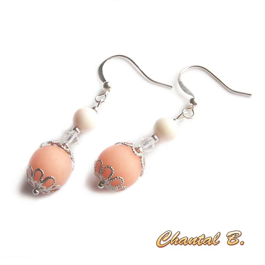 boucles d'oreilles mariage perles de jade saumon cristal nacre véritable et argent