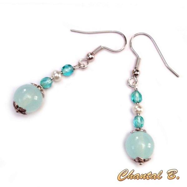 Boucles d'oreilles perle turquoise et argent perles de verre