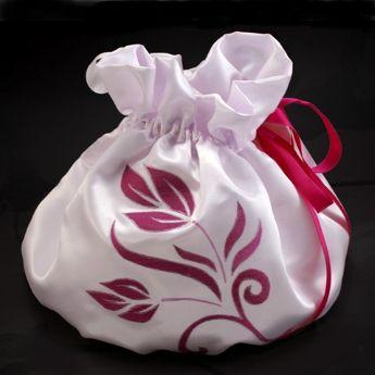 Bourse aumonière mariage fleurs fuschia satin blanc